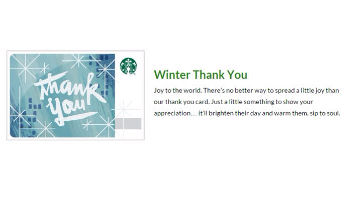 Starbuck's Winter Thank You Product Description